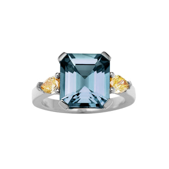 BESPOKE 18CT WHITE GOLD LONDON BLUE TOPAZ & YELLOW DIAMOND RING