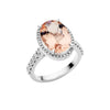 BESPOKE 18CT WHITE GOLD PINK MORGANITE & DIAMOND FORTE RING
