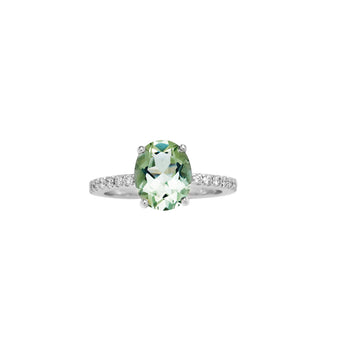 18CT GREEN AMETHYST AND DIAMOND BELLINGEN RING