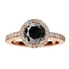 18CT ROSE GOLD BLACK & WHITE DIAMOND PICCADILLY RING