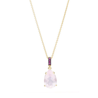 18CT ROSE QUARTZ & RUBY TIVOLI PENDANT