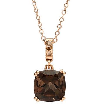 18CT ROSE GOLD SMOKY QUARTZ & CHAMPAGNE DIAMOND KAARINA PENDANT