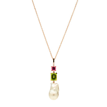 BESPOKE 18CT ROSE GOLD BAROQUE SOUTH SEA PEARL, DIAMOND, TOURMALINE & PERIDOT PENDANT
