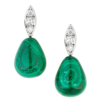 18CT DIAMOND & MALACHITE RAINDROP EARRINGS