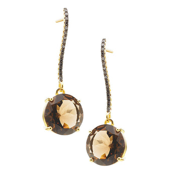 18CT SMOKY QUARTZ & BLACK DIAMOND BIANCA EARRINGS