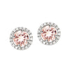 18CT PINK MORGANITE & DIAMOND ORBIT EARRINGS