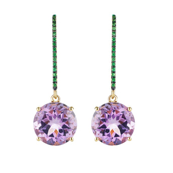 18CT AMETHYST & TSAVORITE BIANCA EARRINGS