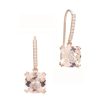 18CT PINK MORGANITE & DIAMOND LA DIVINA EARRINGS