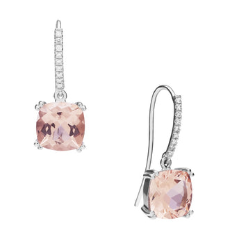 18CT WHITE GOLD PINK MORGANITE & DIAMOND LA DIVINA EARRINGS