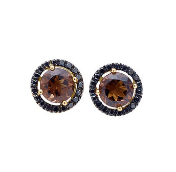 18CT SMOKY QUARTZ AND BLACK DIAMOND ORBIT EARRINGS