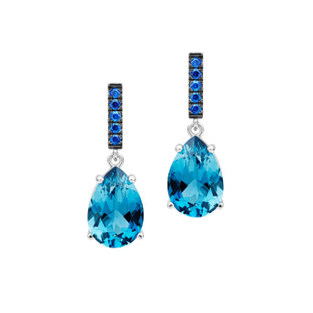 18CT WHITE GOLD LONDON BLUE TOPAZ & SAPPHIRE TIVOLI EARRINGS