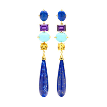 9CT AURORA LAPIS, AMETHYST, TURQUOISE & CITRINE EARRINGS