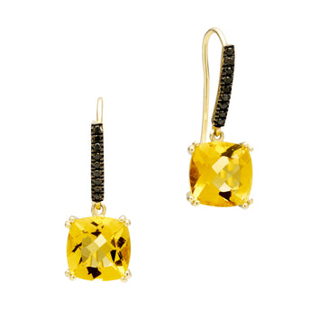 18CT HONEY QUARTZ & BLACK DIAMOND KAARINA EARRINGS