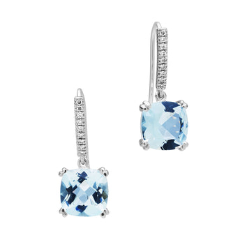 18CT WHITE GOLD AQUAMARINE & DIAMOND KAARINA EARRINGS