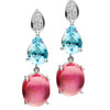 BESPOKE 18CT PINK TOURMALINE, AQUAMARINE & DIAMOND EARRINGS
