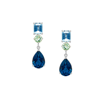 18CT LONDON BLUE TOPAZ, AQUAMARINE & GREEN AMETHYST KAPUTAR EARRINGS