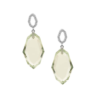 18CT GREEN AMETHYST & DIAMOND BRINDABELLA EARRINGS