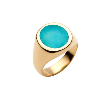 9CT AMAZONITE SIGNET RING