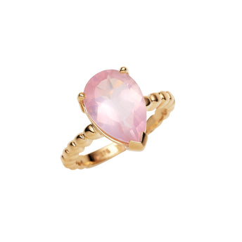 9CT ROSE QUARTZ CHERRY BLOSSOM RING