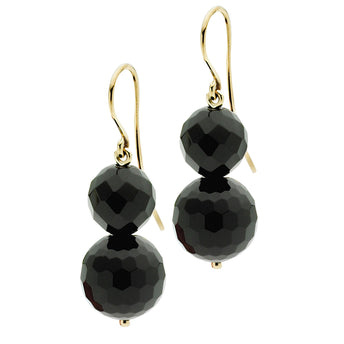 9CT BLACK AGATE ROCK 'N' GOLD EARRINGS