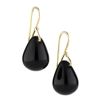 9CT BLACK AGATE RAINDROP EARRINGS