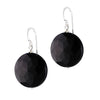 STG SILVER FLAT BLACK AGATE EARRINGS