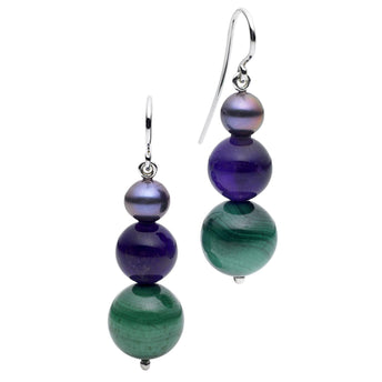 STG SILVER MALACHITE EARRINGS