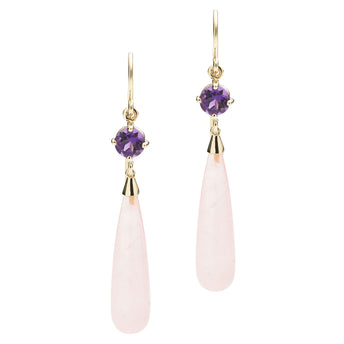 9CT ROSE QUARTZ & AMETHYST SALSA EARRINGS