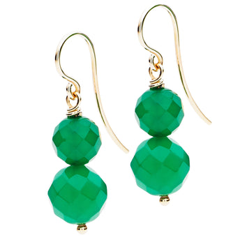 9CT GREEN AGATE MARIBEL EARRINGS