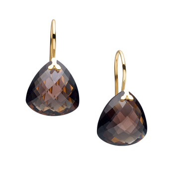 9CT SMOKY QUARTZ PALOS EARRINGS