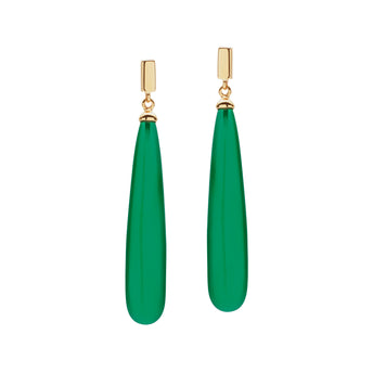 9CT GREEN AGATE JUNO EARRINGS