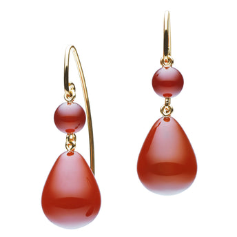 9CT RED AGATE ANGUILLA EARRINGS