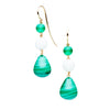 9CT MALACHITE, JADE & GREEN AGATE ANGUILLA EARRINGS