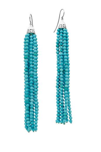 STG SIL TURQUOISE GATSBY (10.5CM) TASSEL EARRINGS