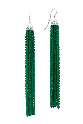 STG SIL GREEN AGATE GATSBY (10.5CM) TASSEL EARRINGS