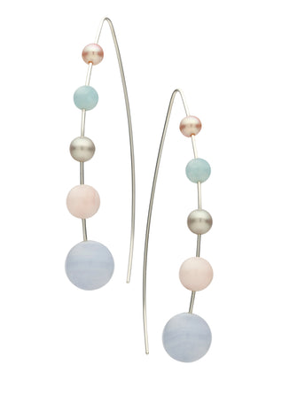 STG SILVER, BLUE LACE AGATE, PINK OPAL & AQUAMARINE MADELINE EARRINGS