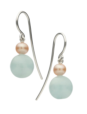 STG SILVER, AQUAMARINE & PINK PEARL ELOISE EARRINGS