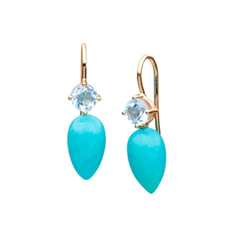 9CT AMAZONITE & BLUE TOPAZ TORQUAY EARRINGS