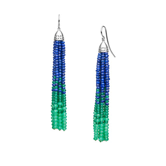 STG SILVER LAPIS, GREEN AGATE & CHRYSOPRASE WILLOW TREE EARRINGS
