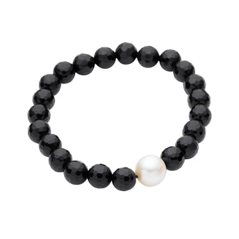 FACETED ONYX AND PEARL ELASTIC BUDDY BRACELET