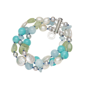 WHITE HAVEN  AQUAMARINE, AMAZONITE, PREHNITE & PEARL 3 ROW BRACELET