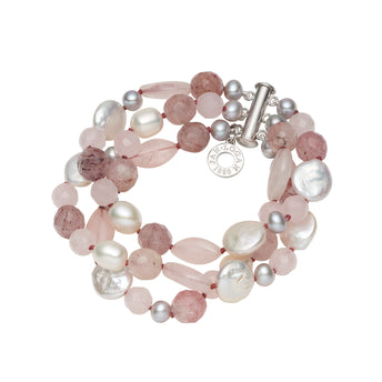 WHITE HAVEN ROSE QUARTZ, STRAWBERRY QUARTZ & PEARL 3 ROW BRACELET
