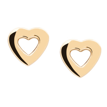 9CT AMOUR HEART STUD EARRINGS