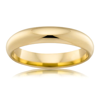 18CT YELLOW GOLD 4MM HIGH DOME WEDDER