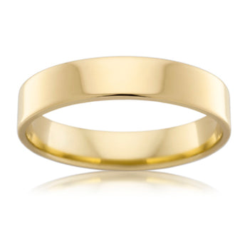 18CT YELLOW GOLD 4.5MM FLAT ROUND WEDDER