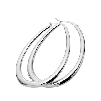 STG SILVER TEARDROP HOOP EARRINGS