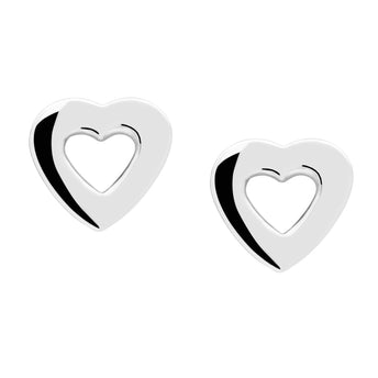 STG SILVER AMOUR HEART STUD EARRINGS