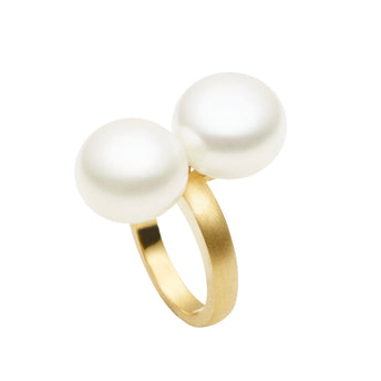 9CT DOUBLE PEARL RING
