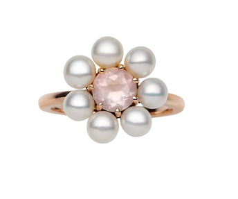 9CT ROSE GOLD, ROSE QUARTZ & PEARL OPHELIA RING