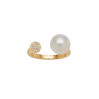 18CT YELLOW GOLD SOUTH SEA PEARL & DIAMOND ALLIRA RING
